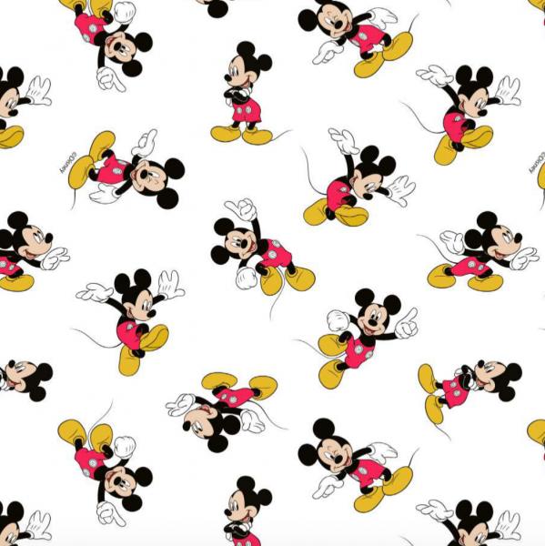 Mickey Mouse auf weiß, Baumwoll-Popeline