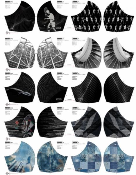 Maskenstoff Digitaldruck Boys Sport 1 für 10 Masken, Paneel, Baumwollstoff