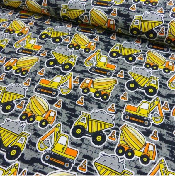 Baufahrzeuge gelb auf grau, Jersey