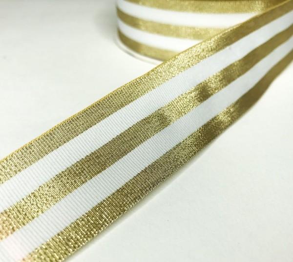 Ripsband Streifen breit, gold-weiß