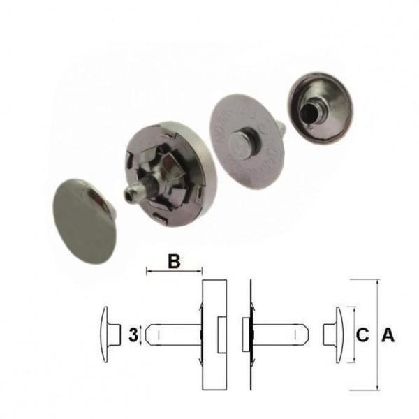 Nieten-Magnetverschluss, 10 mm, grau