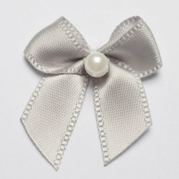 Satinschleife mit Perle, grau