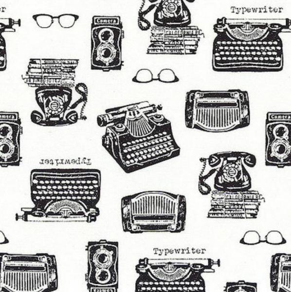 Sevenberry In the Press, Schreibmaschine schwarz/weiß, Baumwollstoff