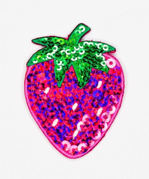 Applikation Erdbeere, pink mit Pailletten
