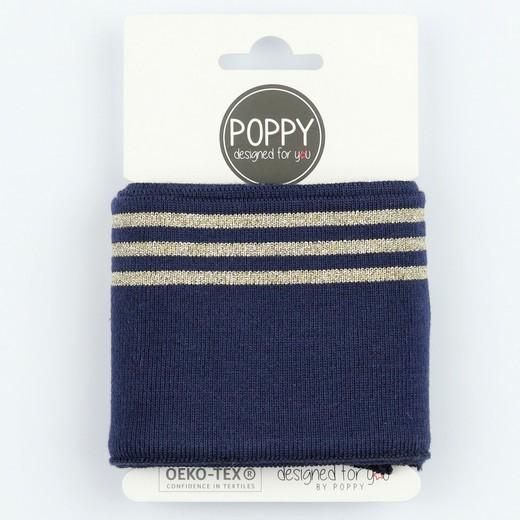 Poppy, Strickbündchen Stripes, dunkelblau/gold, 135 cm