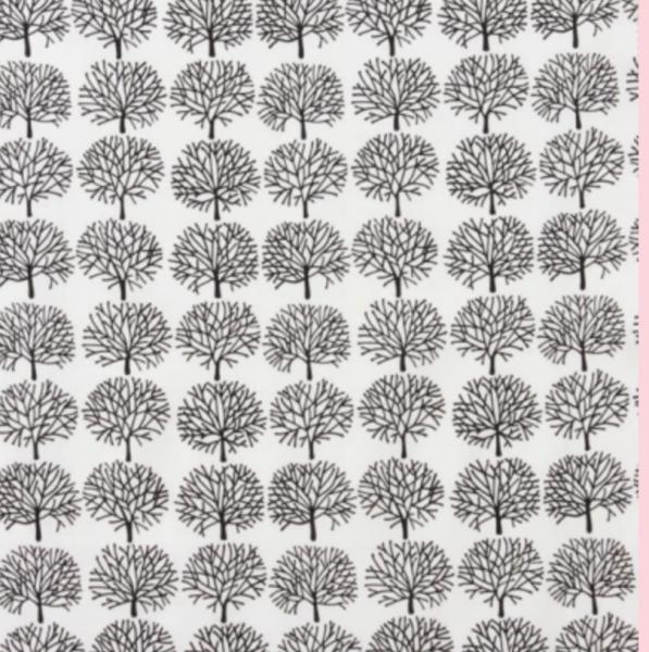 A. Henry, The Ghastlies, Ghastlie Forest, Bäume schwarz auf weiß, Baumwollstoff