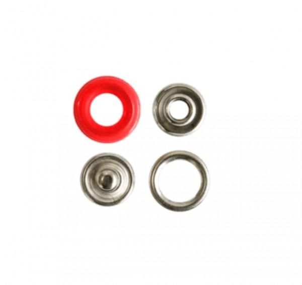 Druckknopf, Ring rot, 12 mm