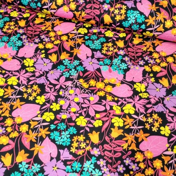 ZNOK Flower Fields pink auf schwarz, Bio-Jersey