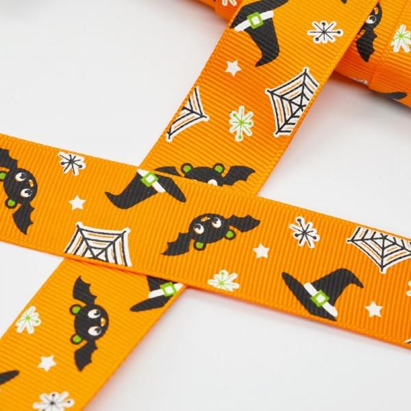 Ripsband, Halloween Fledermäuse, orange