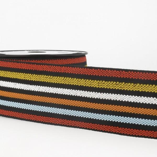 Gummiband breit, 6 Farben auf schwarz, Sommer *Letzte 1,3 m*