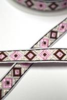 Jaquard Rauten, rosa/braun auf weiß, Webband