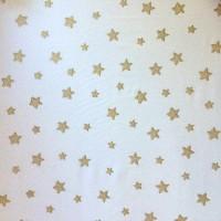 Stenzo Glitzersterne gold auf weiß, Popeline