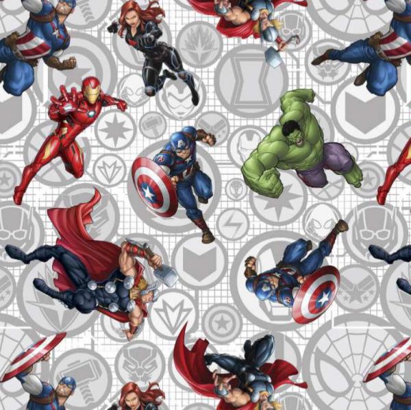 Superhelden auf grau/weiß, Bio-Baumwoll-Popeline