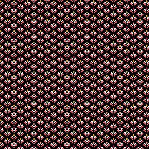 Alma Blumenrauten schwarz, Baumwolllstoff, waschbar bei 60°