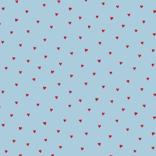 Alma, Laminat/Wachstuch, Herzchen rot auf hellblau