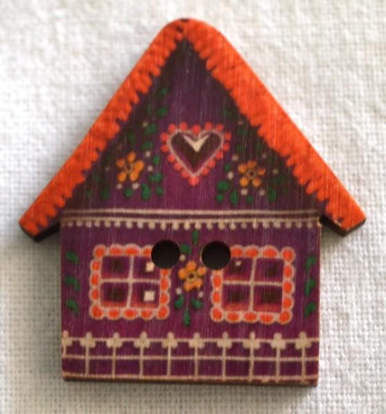 Häuschen, rot , Holzknopf