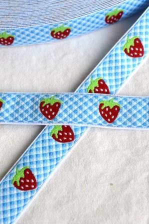 Erdbeeren, hellblau, Webband