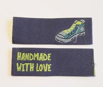 Handmade Sneaker, dunkelblau, Einnäher