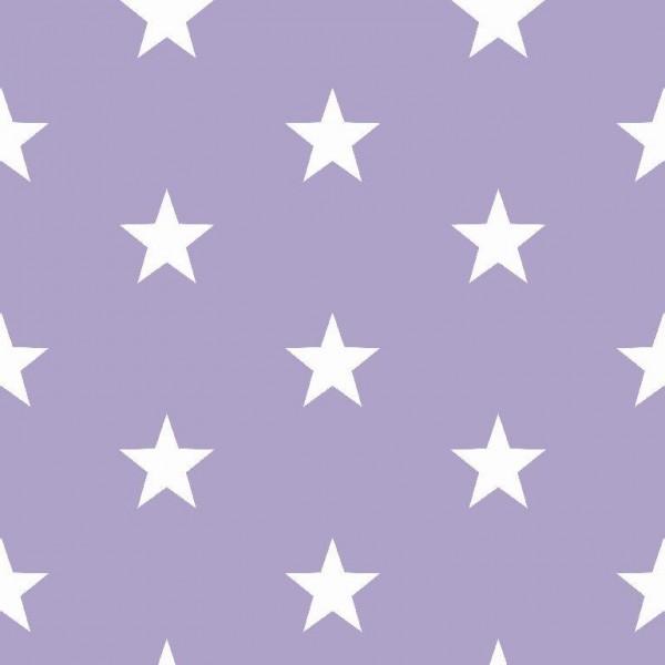 Lili Big Star weiß auf flieder, Webstoff, waschbar bei 60°