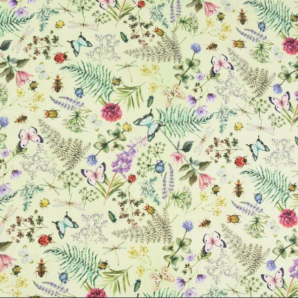 Outdoorstoff Wiesenblumen&Käfer hellgrün