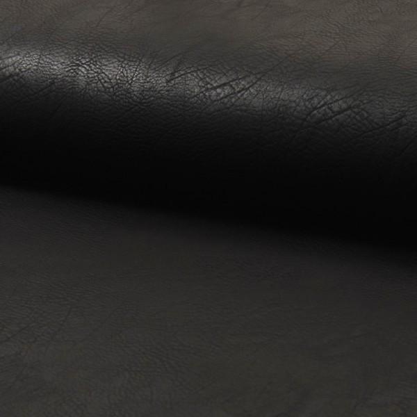 Vintage Lederimitat genarbt schwarz