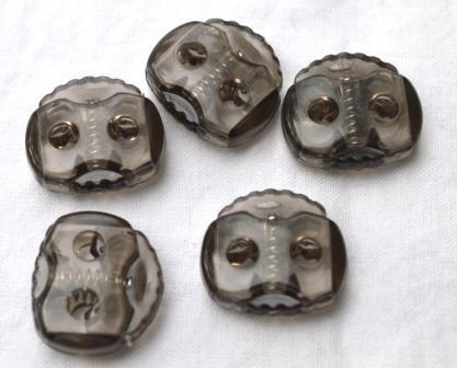Kordelstopper, 2 löchrig, grau-transparent