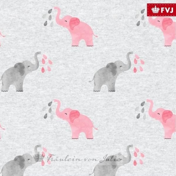 Fräulein von Julie, Kleiner Elefant rosa auf grau-meliert, Jersey