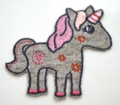 Applikation Unicorn, grau