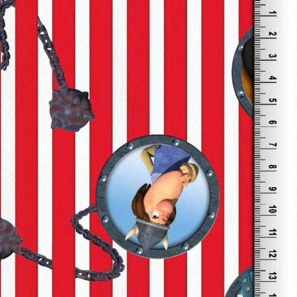 Figuren aus Wickie auf Streifen rot/weiß, Jersey Digitaldruck