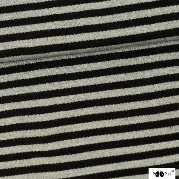 Leichter Merino-Strickstoff schwarz-grau-meliert