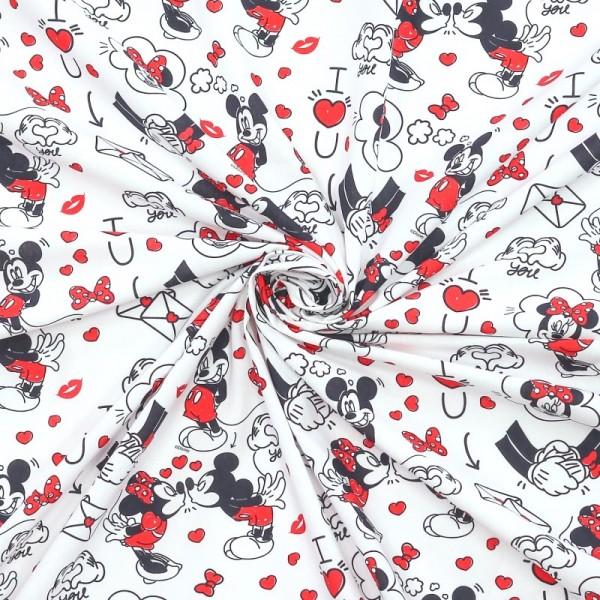 Mickey&Minnie rot/schwarz auf weiß, Baumwoll-Popeline