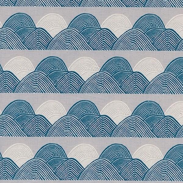 Cotton+Steel, Imagined Landscapes Headlands, grau/blau, Webstoff