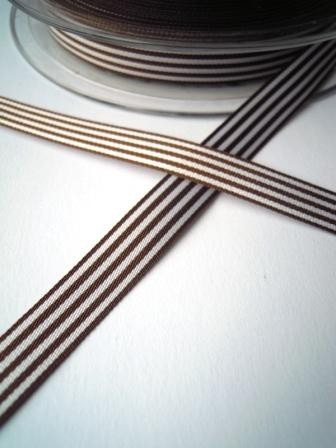 Stoffband, dunkelbraun gestreift, 10 mm