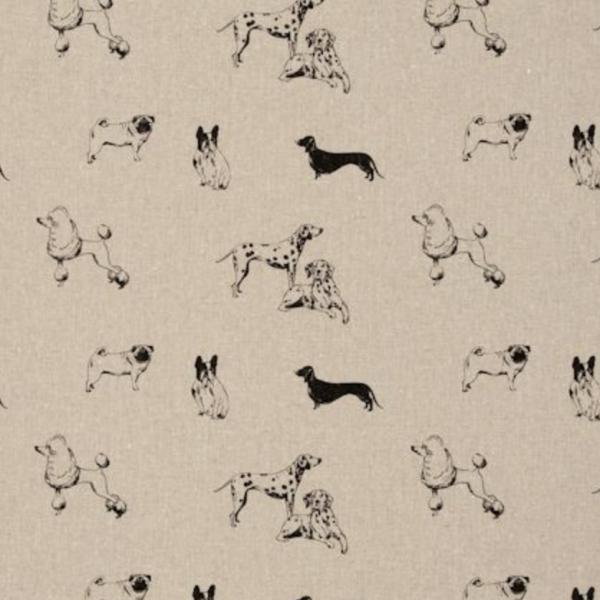 Dekostoff Hunde auf Reinleinen