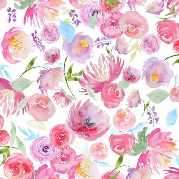 Digitaldruck Aquarell-Blumen auf weiß, Jersey