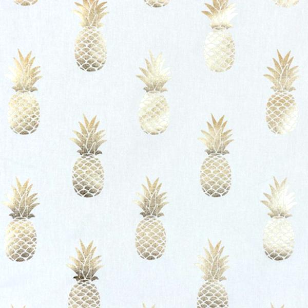 Dekostoff Metallic Ananasgold auf weiß