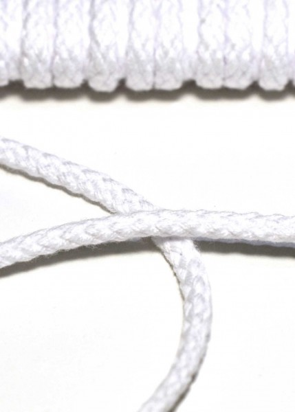 Flechtkordel, 6 mm, weiß