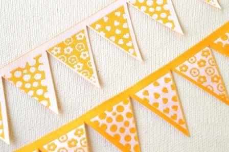 Wimpelkette, gestanzt, gelb, Webband *SALE*