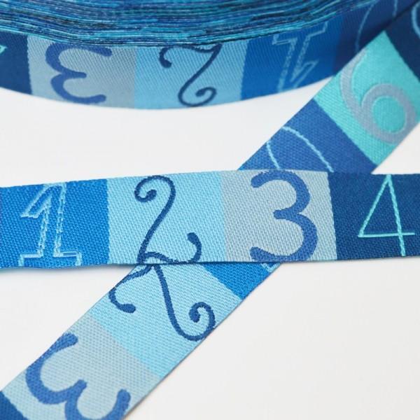 Zahlenband, blau, Webband