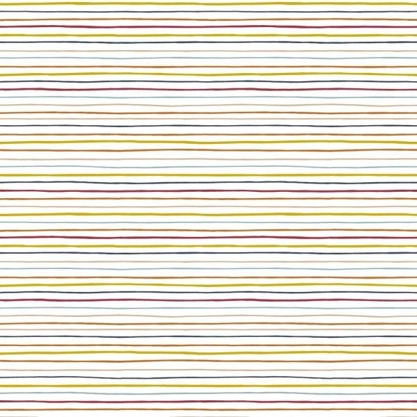 Bunte Streifen auf weiß, Baumwoll-Popeline, waschbar bei 60°
