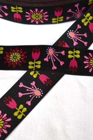 Blumen, schwarz, Webband breit