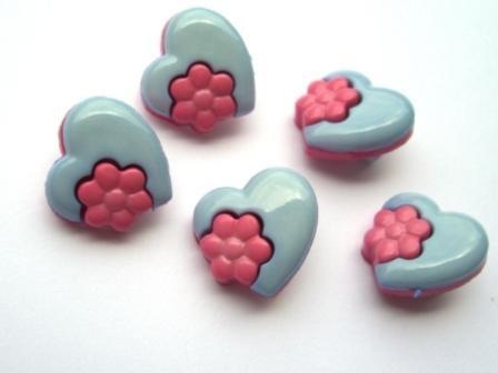 blaues Herz mit rosa Blume, Knopf