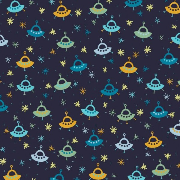 Zauber-Glow-in-the-Dark-Baumwollstoff Fliegende Untertassen, dunkelblau