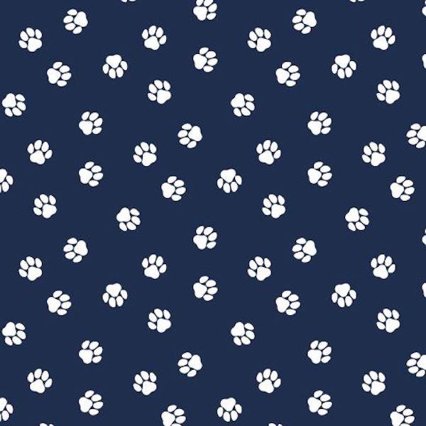 Pfoten auf dunkelblau, Baumwoll-Popeline