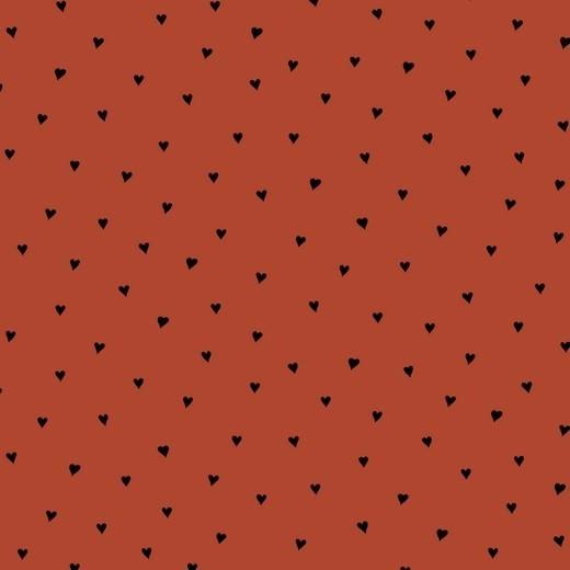 Kleine Herzen schwarz auf rost extraweicher Baumwollstoff, 60°waschbar