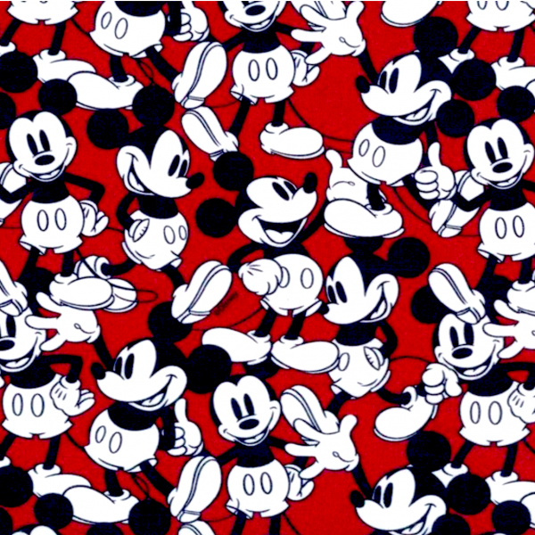 Mickey Mouse auf rot, Baumwoll-Popeline