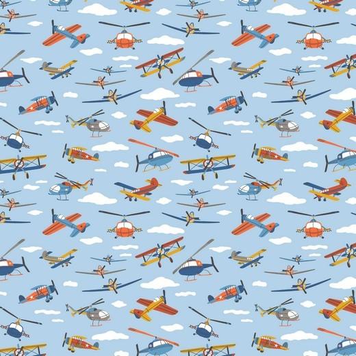 Flugzeuge&Wolken auf hellblau, Baumwollstoff, waschbar bei 60°