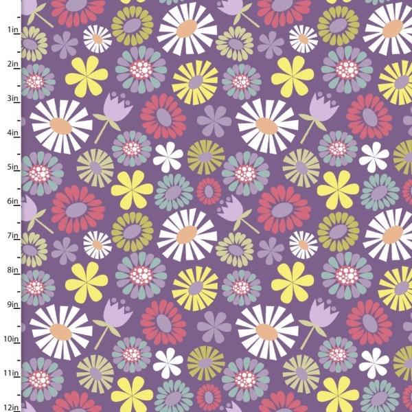 Pippit Moesby Flowers purple, Webstoff