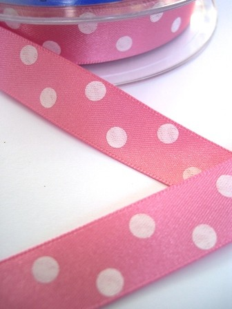 Satinband, polka dots, rosa, 20 mm