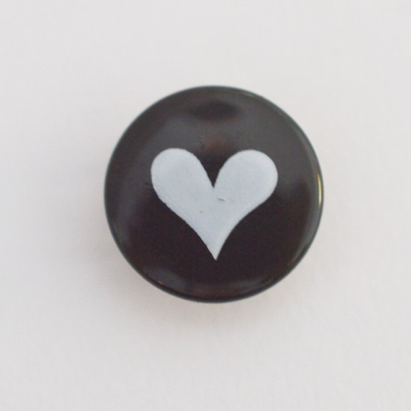 Druckknopf, Herz weiß auf schwarz, 10 mm